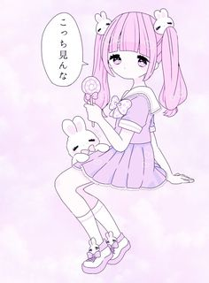 Kawaii cute girl anime illustration lolly bunny twin tails purple pink blue
