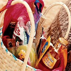 destination wedding  Guest received locally crafted totes overflowing with snacks and goodies