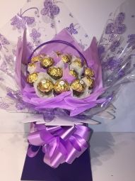 Ferrero Rocher Chocolate Bouquet in Purple/Lilac & Cream Ferrero Rocher Bouquet, Ferrero Rocher Chocolates, Chocolate Boutique, Handcrafted Jewelry, Handmade, Purple Lilac, How To Make Chocolate, Vintage Gifts, Jewelry Crafts
