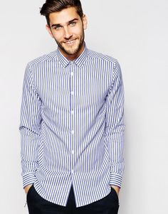 ASOS Smart Shirt In Long Sleeve With Bold Stripe #Camisarias #Listrados #FocusTextil