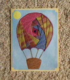 Hot Air Balloon Iris-Folded Card by FoldsWithLoveByHolly on Etsy, $4.00