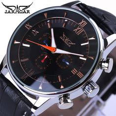 2c852ca2949 ... watch stainless Suppliers  Jaragar Fashion 3 Small Dial Design Black  Silver Dial Genuine Leather Men Watch Top Brand Luxury Automatic Watch  Relogio