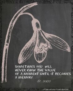 chalkboard --- quote. The value of a moment. Dr. Seuss
