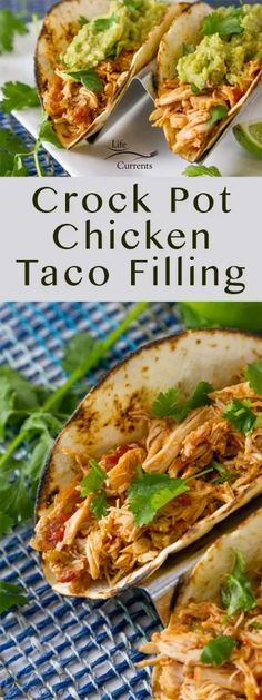 Tender moist Mexican shredded chicken made super easy in the crock pot or slow cooker. These Crock Pot Chicken Tacos are perfect for any taco bar party or taco Tuesday dinner.