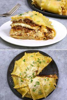 These photos show serving this party lasagna recipe. Upside down lasagne Quick Dinner Recipes, Quick Easy Meals, Breakfast Recipes, Holiday Recipes, Beef Dishes, Pasta Dishes, Pasta Sauces, Italian Dishes, Italian Recipes