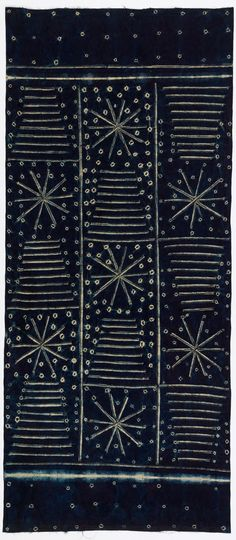 Africa | Adire cloth from the Yoruba people of Nigeria | ca. 1950s | Cotton; indigo resist