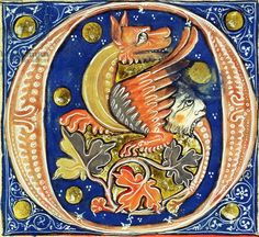 Historiated initial 'O' depicting a winged griffin (vellum), French School, (14th century) / Musee Marmottan Monet, Paris, France / Giraudon / The Bridgeman Art Library