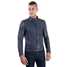 Now available on our store: Men's Leather Jac.... Check it out here! http://merkantfy.com/products/mens-leather-jacket-korean-collar-two-pockets-blue-color-hamilton?utm_campaign=social_autopilot&utm_source=pin&utm_medium=pin