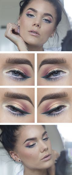 """Today's Look : """"Heaven, Earth, and Ocean"""" by Linda Hallberg (beautiful pinks and peaches, golds, teals and blues... flawless blending...products used: Motives Fantasy palette, Motives Muse palette, Maybelline Master Precise Liquid Eyeliner in Jungle Green...07/19/14"""