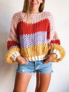 Jumper Patterns, Chunky Knitting Patterns, Crochet Jumper, Knit Crochet, Color Block Sweater, Winter Sweaters, Crochet Fashion, Diy Clothes, How To Knit