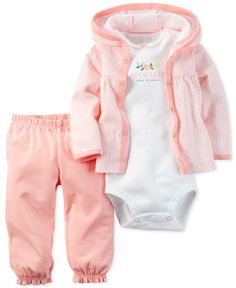 Bring baby girl a darling head-to-toe look with this coordinated three-piece Carter's set of a cozy hooded cardigan, graphic bodysuit and ruffled pull-on pants. | Cotton | Machine washable | Imported