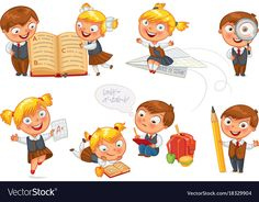 Back to school. Pupils read the textbook. Children do homework. Girl showing a good score. Boy looking through a magnifying glass. Isolated on white background. Funny Cartoon Characters, Funny Cartoons, Kids Vector, Vector Free, Back To School Funny, School Images, School Clipart, Do Homework, Texts