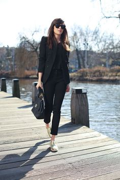 Black with gold brogues