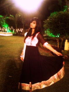black and neon pink anarkali