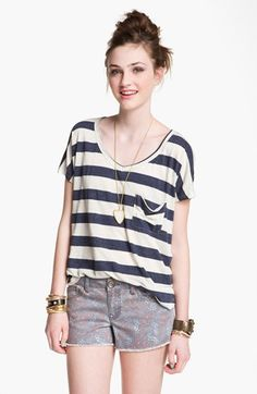 Project Social T Stripe Slouchy Pocket Tee (Juniors) | Nordstrom