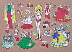 Vintage Party Dress Paper Doll Outfit Set Japanese Japan Clothes Rare Beautiful