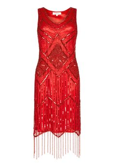 Re-create Daisy Buchanan's style and the glitz and glamour of the 1920s with this sensational flapper dress from Gatsbylady. The perfect plus one to your next vintage-inspired soiree, this dress boasts sumptuous hand-embellished detail, a sassy fringe hem, and a silhouette that just oozes flirty femininity.  Hand embellished Figure-flattering silhouette Fringed hem Model is 5'6 and wears a UK 8  Team LBD recommends: For a stand-out look, style with a vintage-inspired headband, drape ove...
