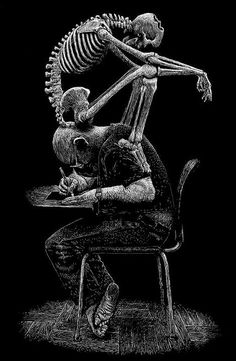 This whole image sums me up. I have a spine disease and me being an artist, bent over drawing and creating like this has done me no favours over the years. My skeleton is evil. It's torturing me for my passion for art. Love this guy's artwork. Tachisme, Skeleton Art, Skeleton Love, Scratchboard, Skull And Bones, Memento Mori, Art Plastique, Skull Art, Macabre