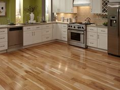 Hickory prefinished hardwood is distinguished by its amazing color variation, superb graining and outstanding durability. It's also the hardest of all North American wood, making it a great choice for a kitchens wear and tear.