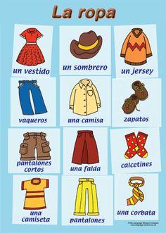 The Language Stickers Company SP15 (A3) Spanish poster - La ropa