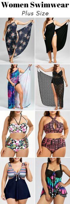 100+ Plus Size Swimwear for Women | From $8 | Sammydress.com | #plussize #women #swimwear