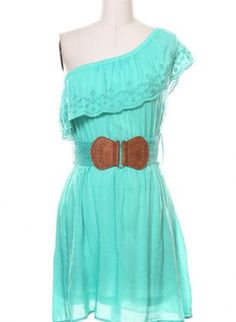 Teal One Shoulder Dress with Matching Leather Belt