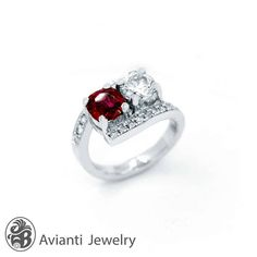 Ruby and Diamond Ring Two Stone Engagement Ring July