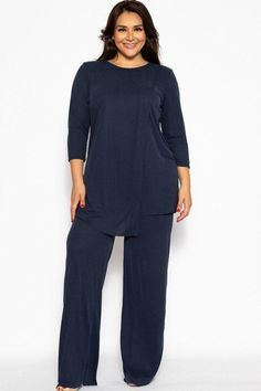 Pleated Navy 2 Piece Set Made In U.A Comfy pleated 2 pieces set made of ribbed rayon fabric, featuring sleeves, a layered detail front, and breezy pants. Curvy Fashion, Plus Size Fashion, Brunch, Mesh Bodysuit, Cropped Blazer, Dress For Success, Spandex, Wide Leg Pants, Fashion Outfits