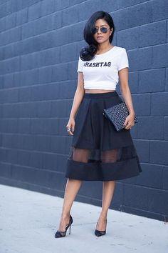 The perfect black midi skirt with sheer panel deanna hughes hughes Walker IN WON… The perfect black midi skirt with sheer panel deanna hughes hughes Walker IN WONDERLAND Fashion Killa, Look Fashion, Skirt Fashion, High Fashion, Womens Fashion, Fashion Trends, Fashion Bloggers, Street Fashion, Net Fashion