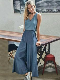 Cotton Wide Leg Casual Pants Sku Material Cotton Style Loose , Empire Feature Solid Occasion Going out , Casual , Vaca Casual Pants, Casual Outfits, Summer Outfits, Womens Fashion Online, Latest Fashion For Women, Fashion Women, Look Fashion, Fashion Outfits, Fashion Trends