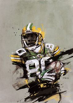 I'm not a fan of football but I like the style. Chapter 03 by Florian NICOLLE, via Behance Web Design, Design Art, Creative Illustration, Illustration Art, Football Art, Packers Football, Football Players, Sports Painting, Football Pictures