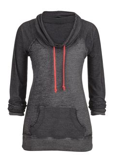 cowl neck pullover with contrast ties - looks comfy for everyday wear.