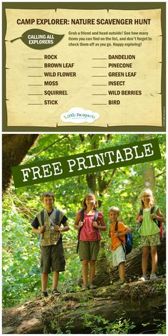 Free printable camp explorer nature scavenger hunt for kids, fun outdoors learning activity