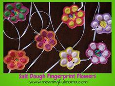 kids' salt dough fingerprint flowers craft