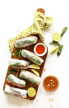 Vietnamese-inspired spring rolls with easy crispy tofu and a savory-sweet almond butter dipping sauce. Flavorful tofu, crisp veggies, delectable sauce, and so fresh and perfect for summer. Baker Recipes, Potluck Recipes, Tofu Recipes, Vegetarian Recipes, Vegan Meals, Vegan Potluck, Popcorn Recipes, Pescatarian Recipes, Vegan Foods