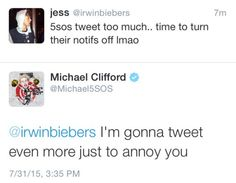 5SOS SHOULD NEVER STOP TWEETING!!! I LOVE THEIR TWEETS!!>>>oh Michael XD and I agree. They shouldn't stop haha