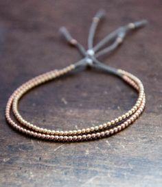Delicate 10k solid Yellow Gold beaded bracelet