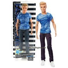 Mattel Year 2015 Barbie Fashionistas Series 12 Inch Doll - KEN (DGY67) in Blue Dashing Denim Tee and Dark Blue Denim Pants
