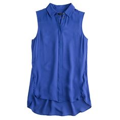 Silk sleeveless blouse, deep sea, size 2
