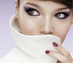 eye makeup, purple, eyeshadow, cat eyes, hazel eyes
