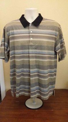 Turnbury Mens Shirt Casual Golf Polo Brown Blue Tan Striped Short Sleeves XL #Turnbury #PoloRugby