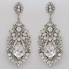 Silver Chandelier Earrings Clear Crystal Teardrop Long Bohemian Pearl Gatsby Wedding Platinum Vintage Style
