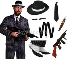 Deluxe 10 piece gangster costume mens #1920's fancy dress adult #mafia al #capone, View more on the LINK: http://www.zeppy.io/product/gb/2/191692566696/