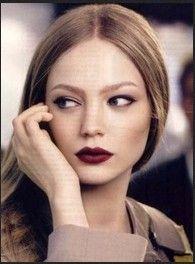 dark ash blonde hair dark lips