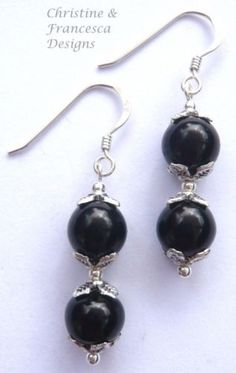 Classic & stylish black glass pearls in a lovely design ♥ .925 Sterling Silver BLACK Glass Pearl Drop Bead Earrings + Gift Box & Organza Gift Bag ~ by Christine & Francesca Designs