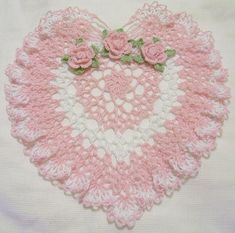 Happy Valentines/Mothers day pink and white heart lace crocheted doily home decor handmade in USA original design