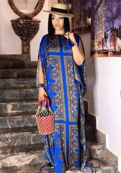 Latest African Fashion Dresses, African Dresses For Women, African Print Fashion, African Attire, Kaftan Designs, Kaftan Style, Dress Clothes For Women, Maxi Dress With Sleeves, Long Sleeve Maxi