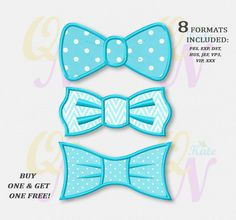 BOGO FREE! SET, Bow tie applique embroidery design, Bow tie Machine Embroidery Designs, Embroidery designs for babies, #017 by KateQuickNeedle on Etsy