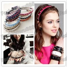 Hot Sale!Fashion Lady Girl Leather Spike Rivet Studded Punk Headband 18 Colors Free Shipping 1pcs/lot-in Hair Accessories from Women's Clothing & Accessories on Aliexpress.com | Alibaba Group