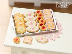 Iced Butter Cookies on Metal Baking Sheet - Four Varieties - Miniature Food in 12th Scale for Dollhouse